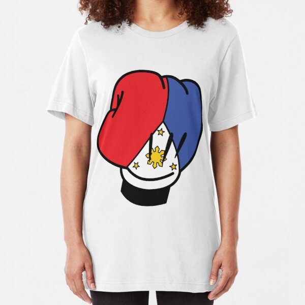 MP Mickey Pacquiao Filipino Flag Boxing Glove by AiReal Apparel Slim Fit T-Shirt