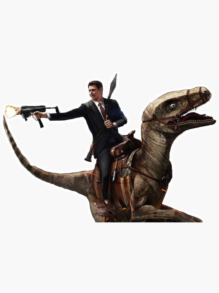 Ronald Reagan riding a dinosaur by katherinehli17