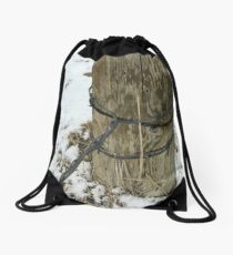 Barbed Wire Around Fence Post Drawstring Bag