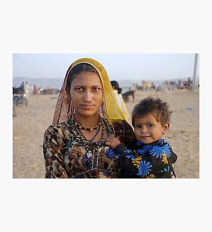 Gypsy woman with Child at Camel Fair Photographic Print