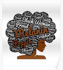 Melanin Poppin Natural Hair Afro Art Black Woman Poster