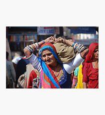 Old Woman at Camel Fair Pushkar Photographic Print