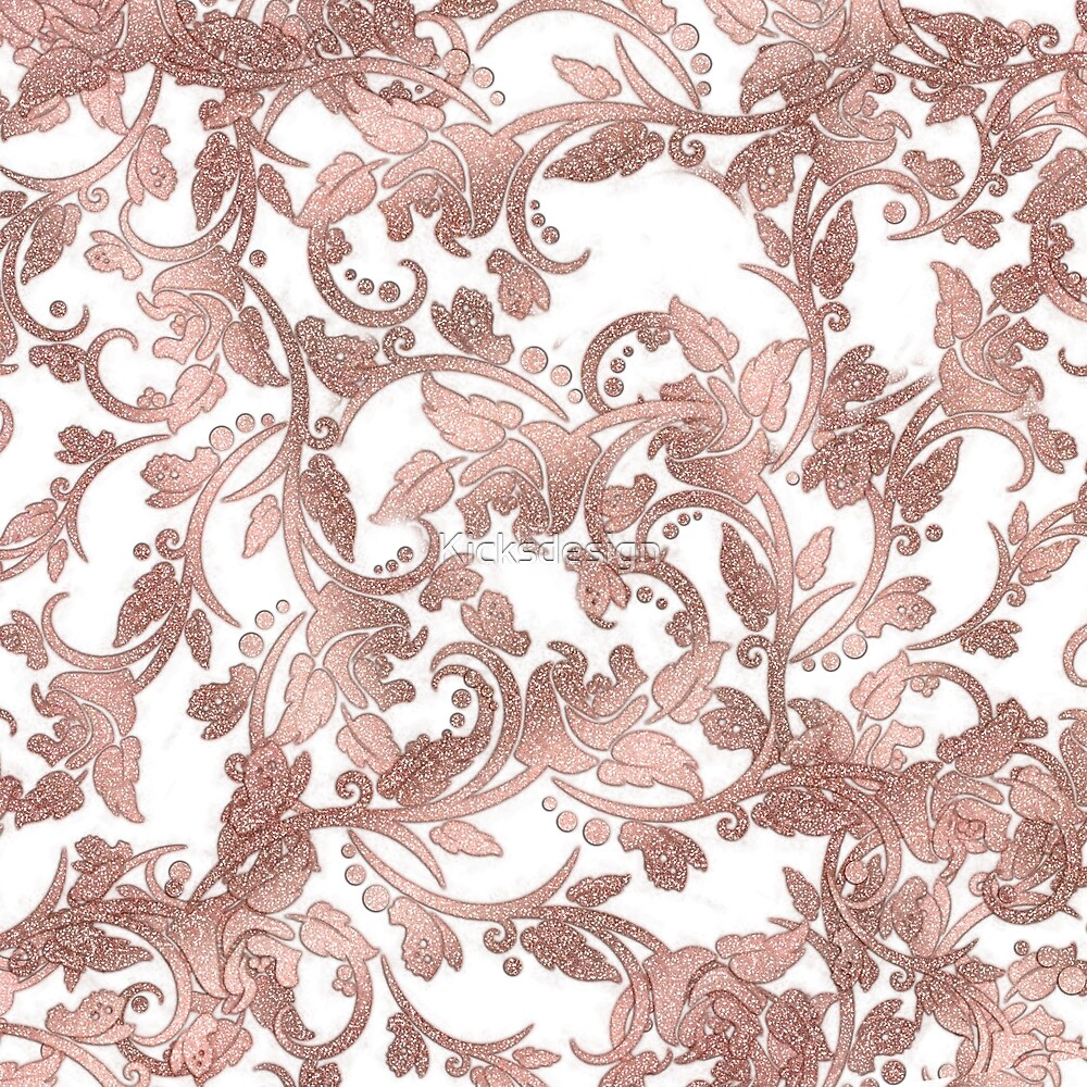 Chic Girly Rose Gold Glitter Floral By Kicksdesign Redbubble
