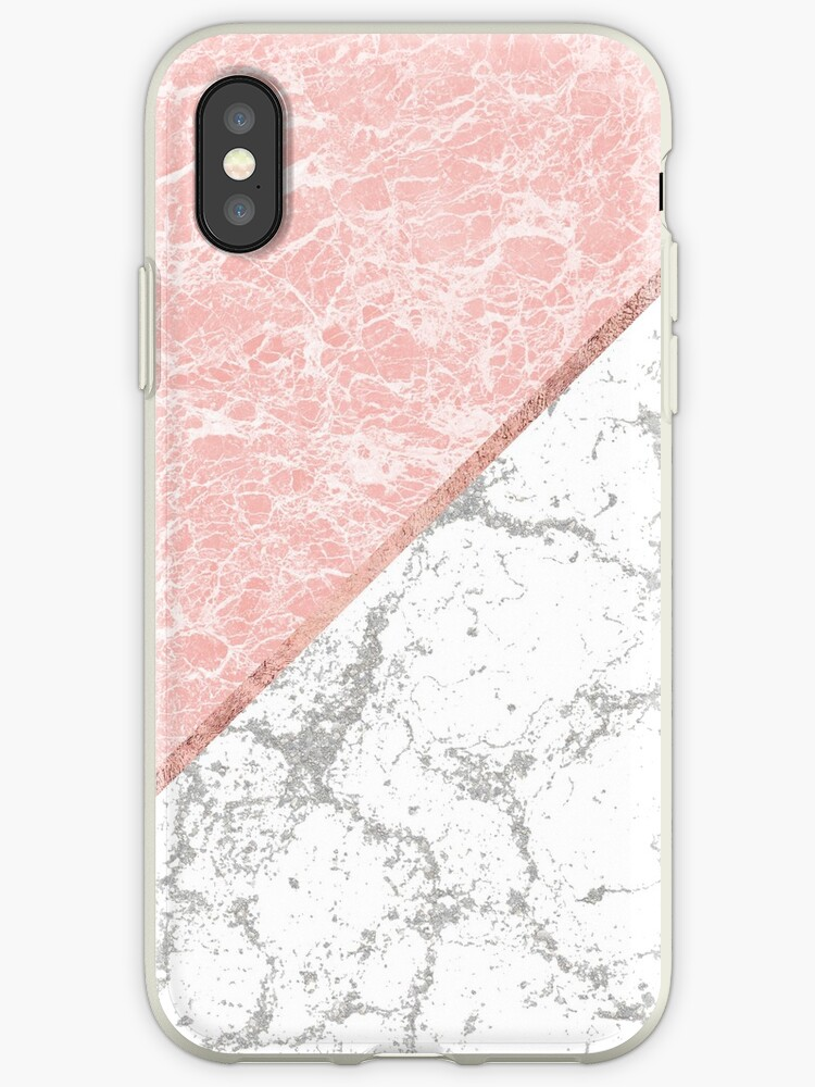 online store 68c6c e2b52 'Geometrical pastel gray coral rose gold marble' iPhone Case by Kicksdesign