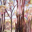 Australian forest scene - eucalyptus by Avril E Jean
