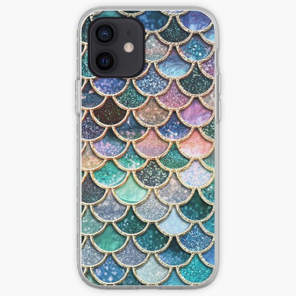 Teal, Silver and Pink Sparkle Faux Glitter Mermaid Scales iPhone Soft Case