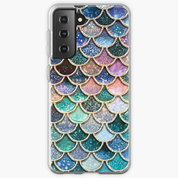 Teal, Silver and Pink Sparkle Faux Glitter Mermaid Scales Samsung Galaxy Soft Case