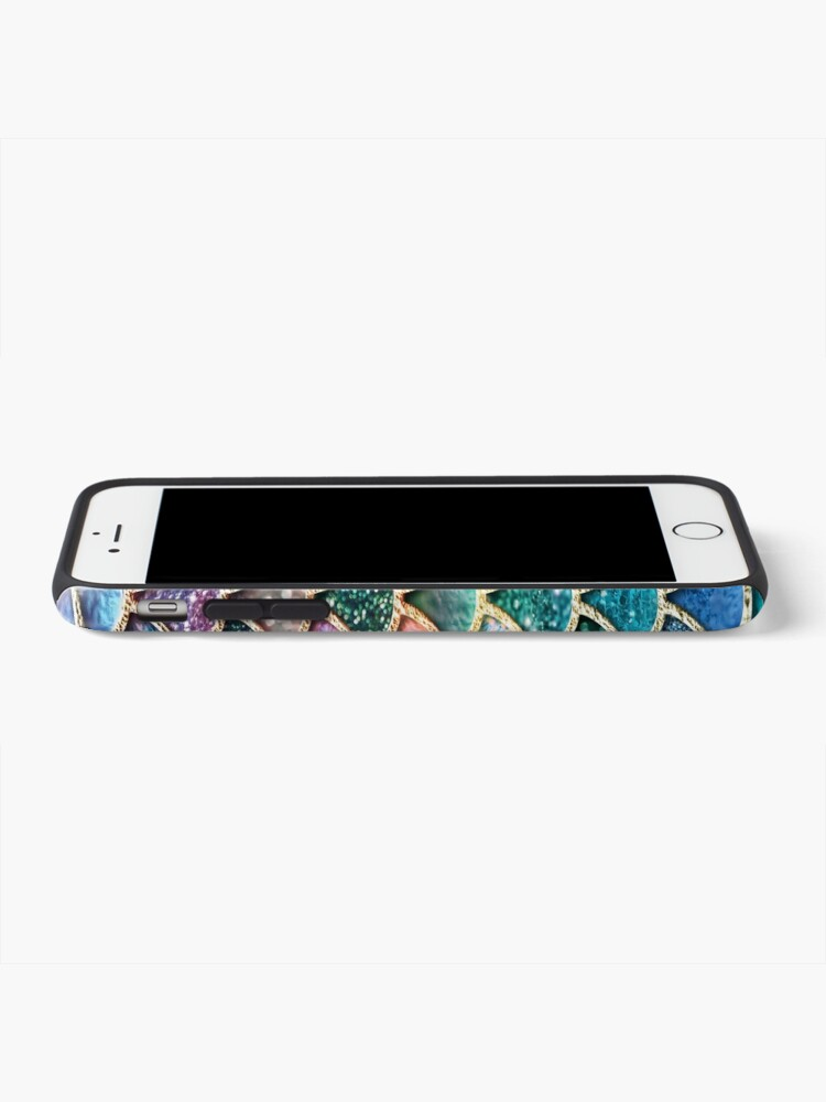 Alternate view of Teal, Silver and Pink Sparkle Faux Glitter Mermaid Scales iPhone Case & Cover