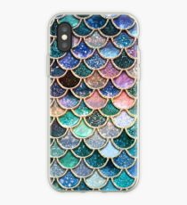 Teal, Silver and Pink Sparkle Faux Glitter Mermaid Scales iPhone Case