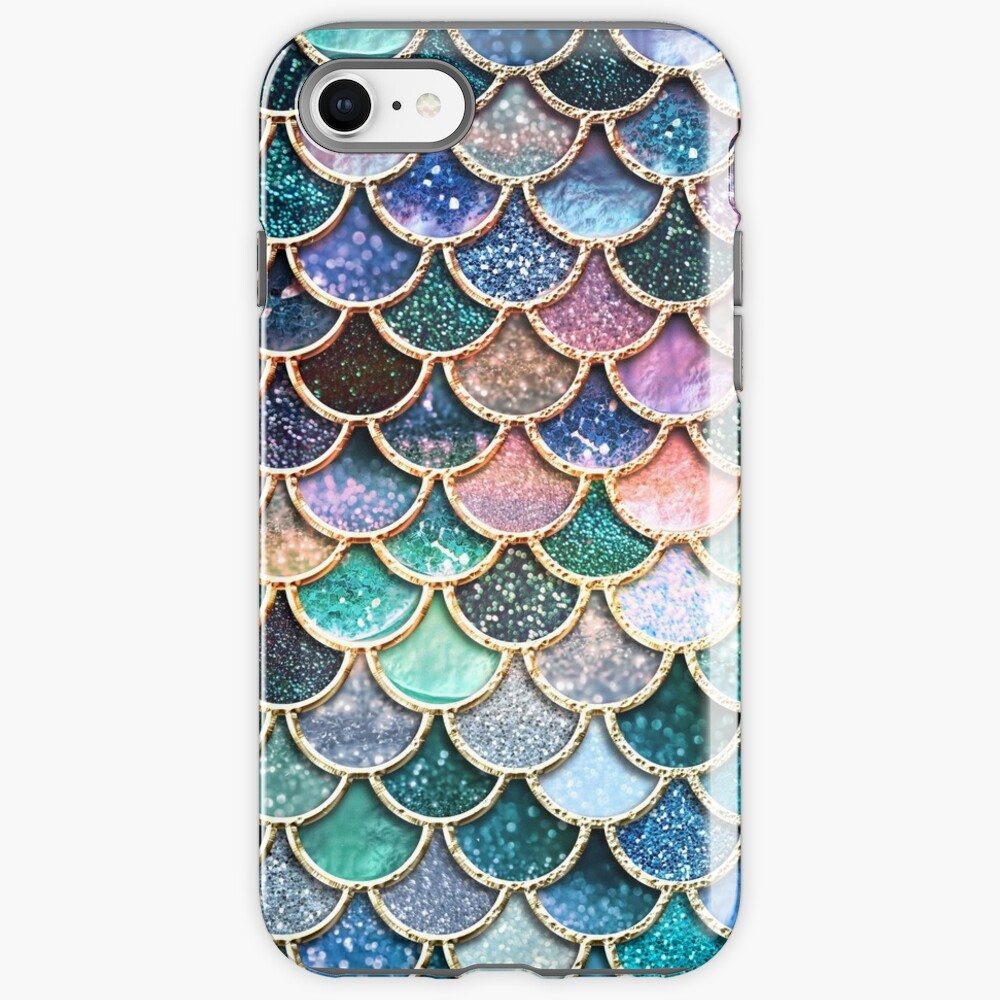 Teal, Silver and Pink Sparkle Faux Glitter Mermaid Scales iPhone Case & Cover