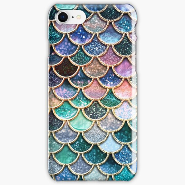 Teal, Silver and Pink Sparkle Faux Glitter Mermaid Scales iPhone Snap Case