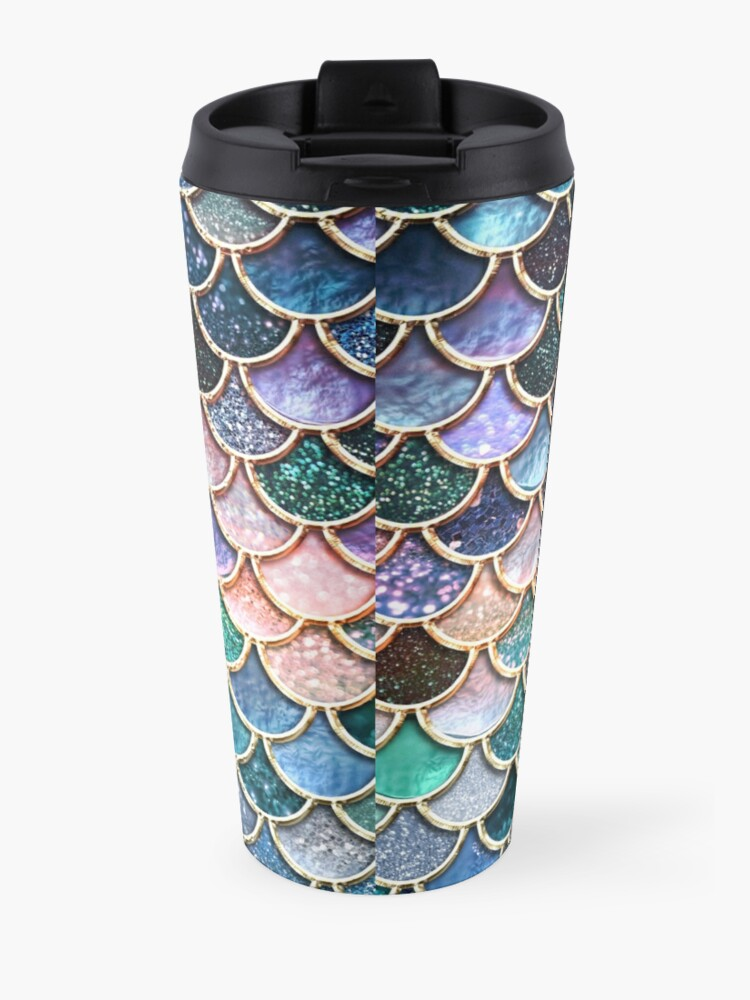 Alternate view of Teal, Silver and Pink Sparkle Faux Glitter Mermaid Scales Travel Mug