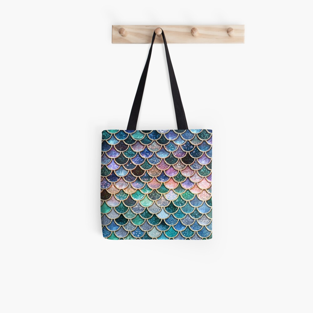 Teal, Silver and Pink Sparkle Faux Glitter Mermaid Scales Tote Bag