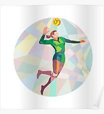Volleyball-Spieler, der den Ball springend niedriges Polygon verletzt Poster