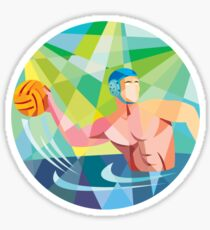 Water Polo Player Throw Ball Circle Low Polygon Sticker
