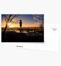 Sunset on Car junk yard Postcards