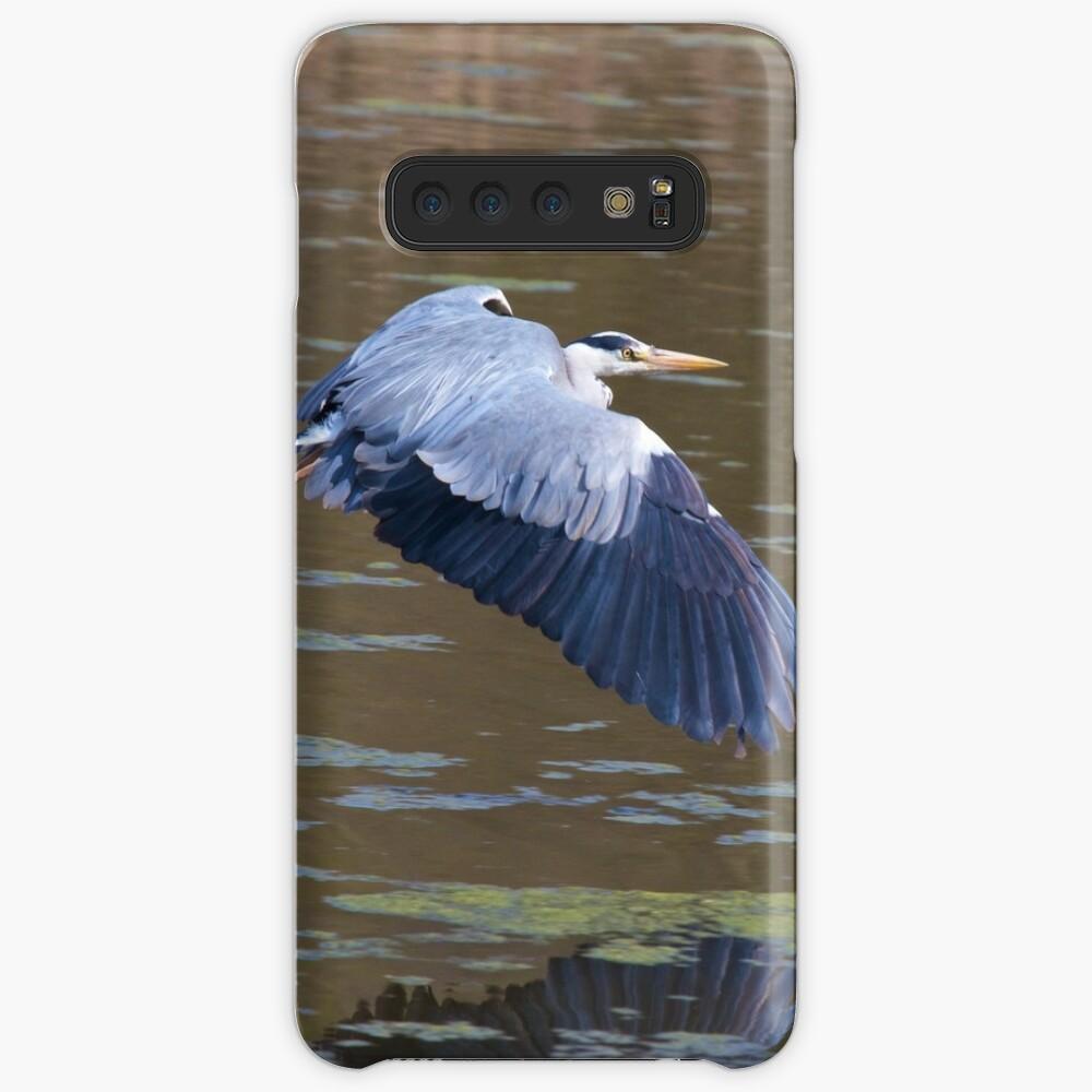 A Grey Heron (Ardea cinerea) in flight. Case & Skin for Samsung Galaxy