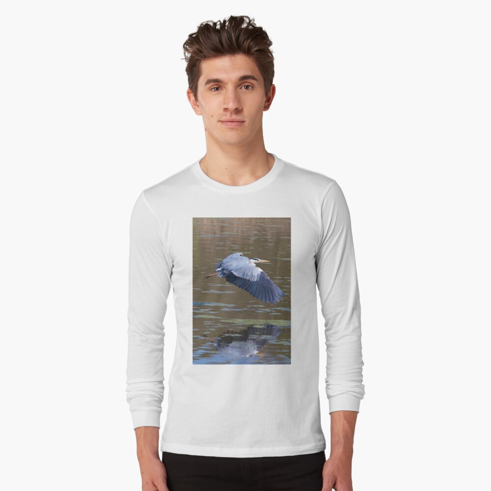 A Grey Heron (Ardea cinerea) in flight. Long Sleeve T-Shirt
