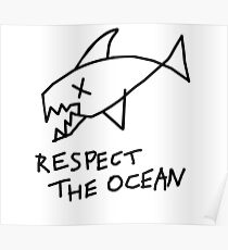 Respect the Ocean - Cool Grunge Mashup - White Version Poster