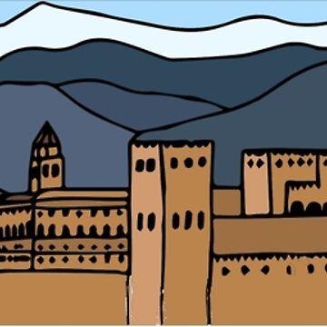 Granada, obra de arte de Alhambra de platyopus