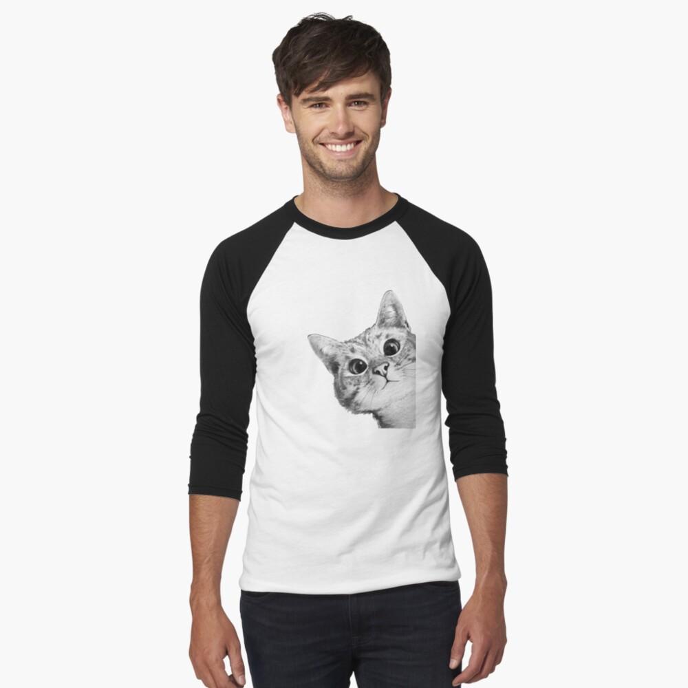 sneaky cat Baseball ¾ Sleeve T-Shirt