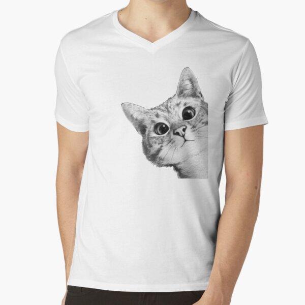 sneaky cat V-Neck T-Shirt
