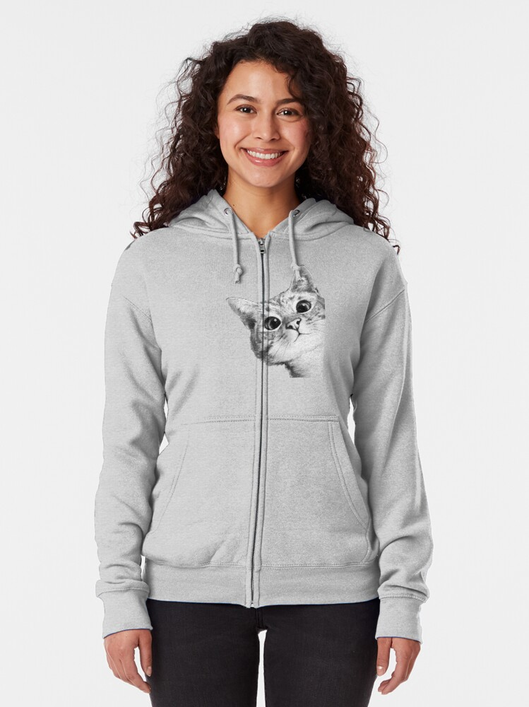 Alternate view of sneaky cat Zipped Hoodie