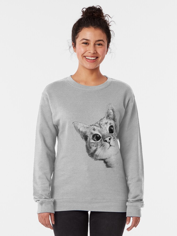 Alternate view of sneaky cat Pullover Sweatshirt