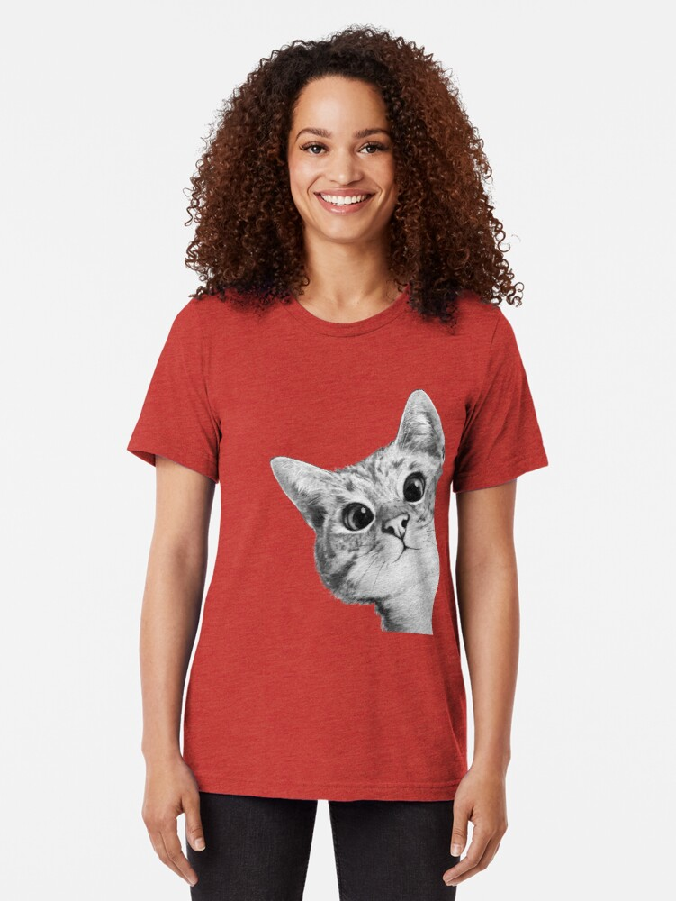 Alternate view of sneaky cat Tri-blend T-Shirt