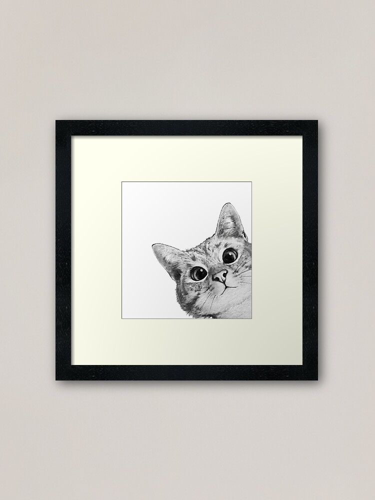 Alternate view of sneaky cat Framed Art Print