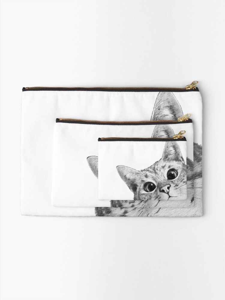 Alternate view of sneaky cat Zipper Pouch