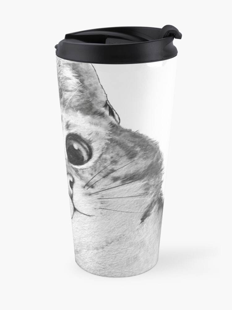 Alternate view of sneaky cat Travel Mug