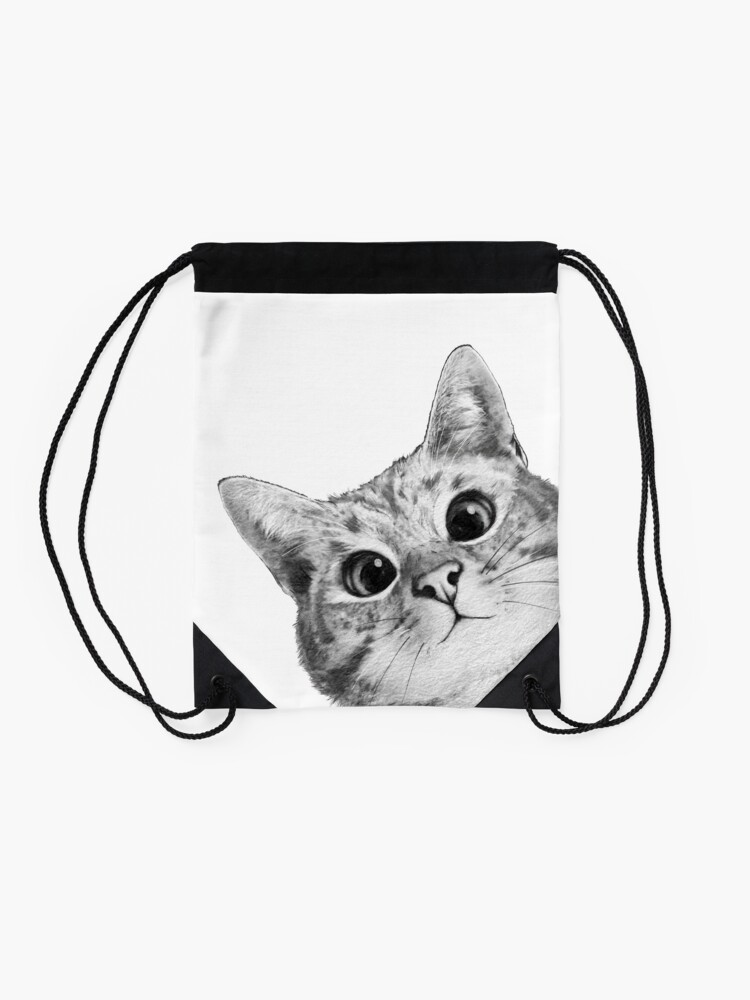 Alternate view of sneaky cat Drawstring Bag