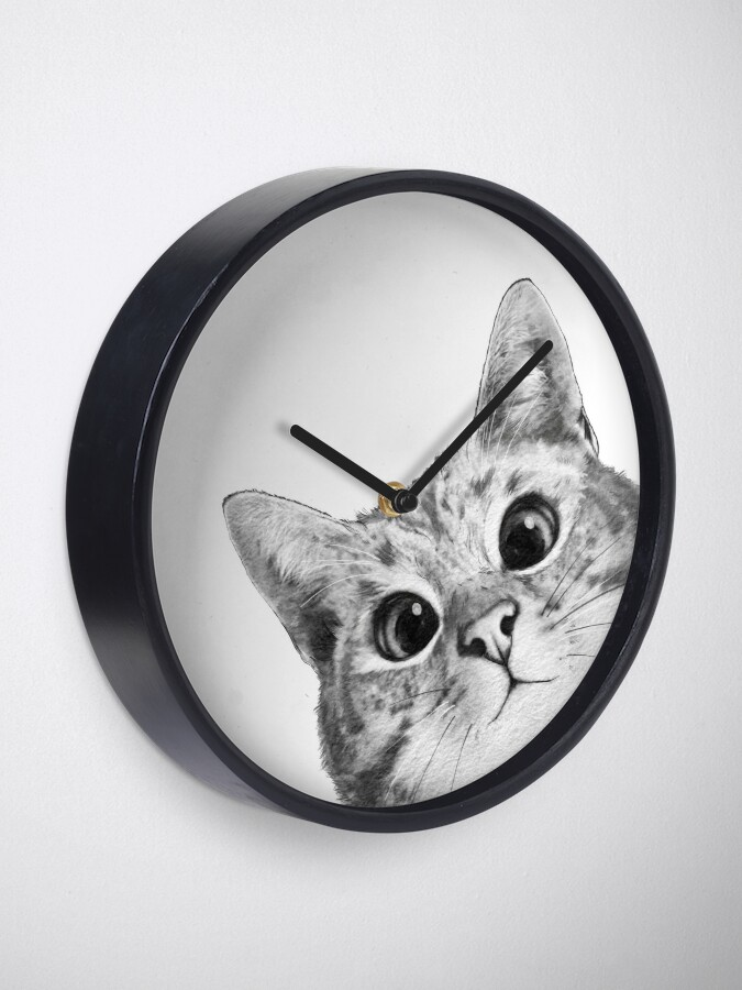 Alternate view of sneaky cat Clock