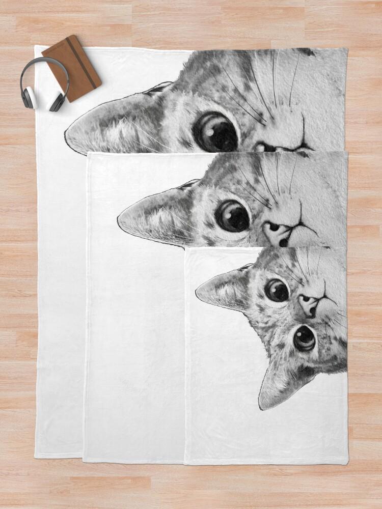 Alternate view of sneaky cat Throw Blanket