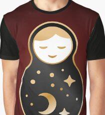 Russian doll matrioshka Babushka, Stars, moon, constellation, night sky. Black gold on brown background  Graphic T-Shirt