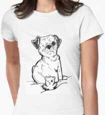 one eyed pug dog  Women's Fitted T-Shirt