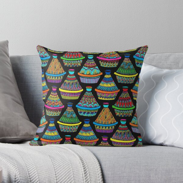 """Pattern #82 - Moroccan tagines at the souk"""" Throw Pillow"""