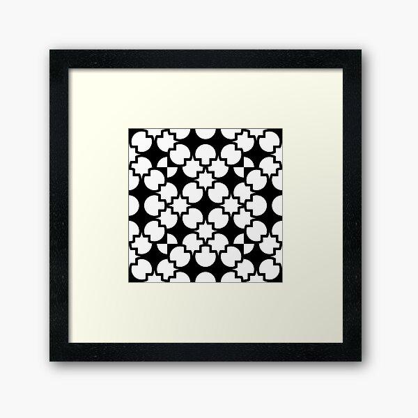 Black geometric shapes pattern  Framed Art Print