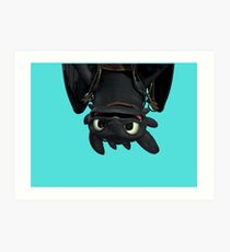 Upside Down Toothless Art Print