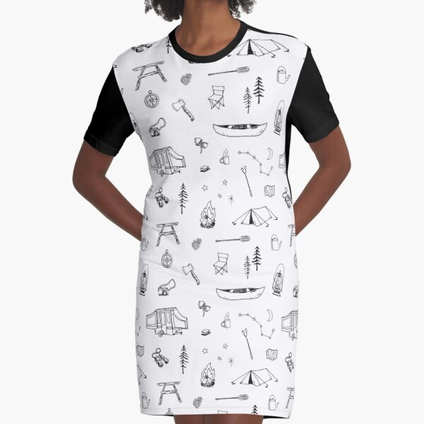 Simple Camping Graphic T-Shirt Dress