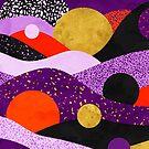 Terrazzo galaxy purple orange gold by Sylvain Combe