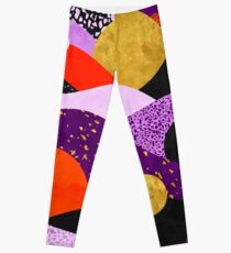 Terrazzo galaxy purple orange gold Leggings