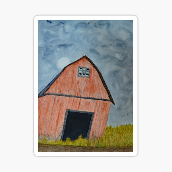 Abandoned Barn and Stormy Sky Sticker