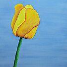 Single Yellow Tulip against a Blue Sky by lisavonbiela