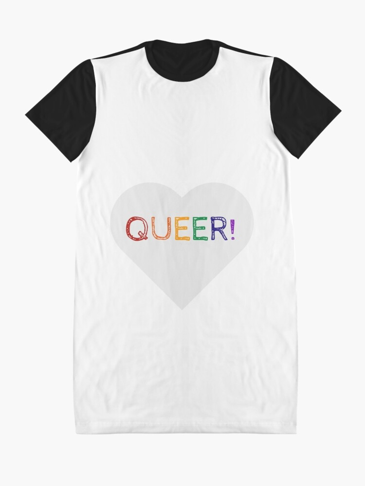 Alternate view of QUEER RAINBOW HEART Graphic T-Shirt Dress