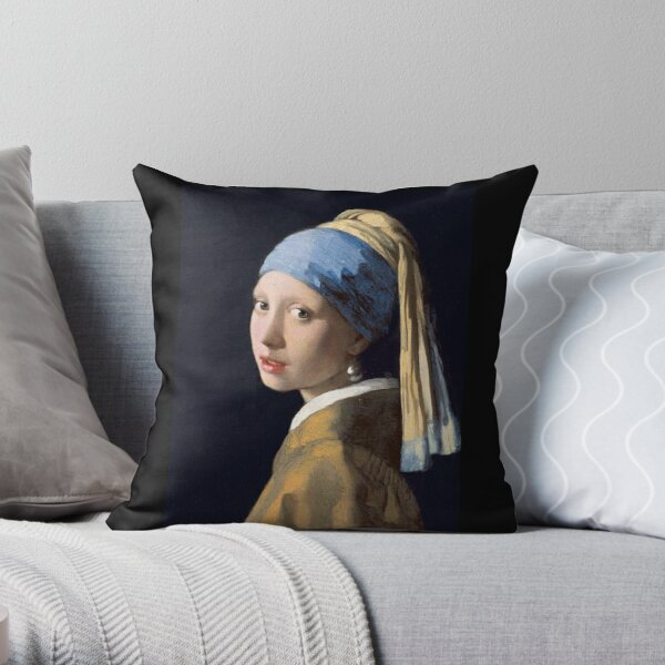 GIRL, Girl with a Pearl Earring, ART, Painting, VERMEER, Johannes Vermeer, Meisje met de parel. Throw Pillow