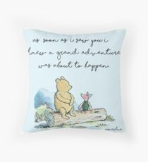 Classic Winnie The Pooh PRINTABLE, As soon as I saw you I knew a grand adventure was about to happen, Kids Wall Art, Boys Nursery Decor Blue Throw Pillow