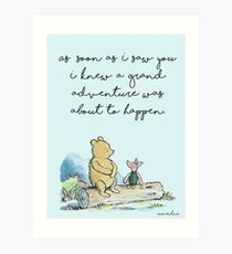 Classic Winnie The Pooh PRINTABLE, As soon as I saw you I knew a grand adventure was about to happen, Kids Wall Art, Boys Nursery Decor Blue Art Print