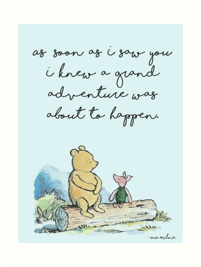 «Classic Winnie The Pooh IMPRENTA, Tan pronto como te vi supe que iba a suceder una gran aventura, Kids Wall Art, Boys Nursery Decor Blue» de aprilfourth